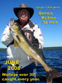 Dennis Kellner with a 32 inch walleye largest in 35 years fishing across Canada says Nungesser is the best lake in Canada.
