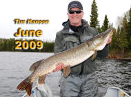 photo of Tim Hanson with a 20lb plus giant pike caught on a rapala in Storey Bay on Nungesser lake while staying at Anglers Kindgom in northwestern ontario